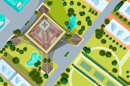 Konstrukcja wektora widok z lotu ptaka wieży Eiffla