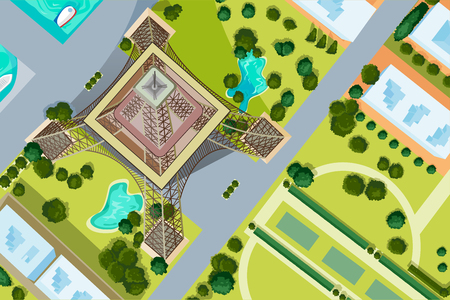 Vector design of birds eye view of Eiffel Tower