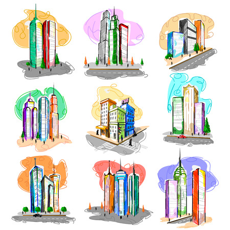 downtown district: Vector design of skyscraper building tower in abstract style Illustration