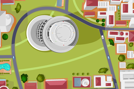 birds eye view: Vector design of birds eye view of Leaning Tower of Pisa Illustration