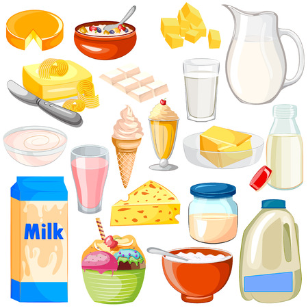 vector illustration of Dairy Product Food Collection