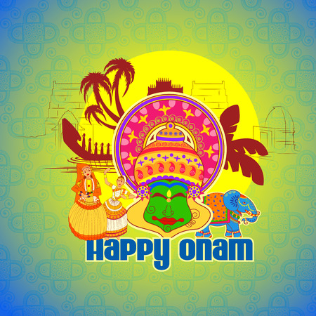 pookolam: Vector design of Happy Onam background with Kathakali dancer in Indian art style