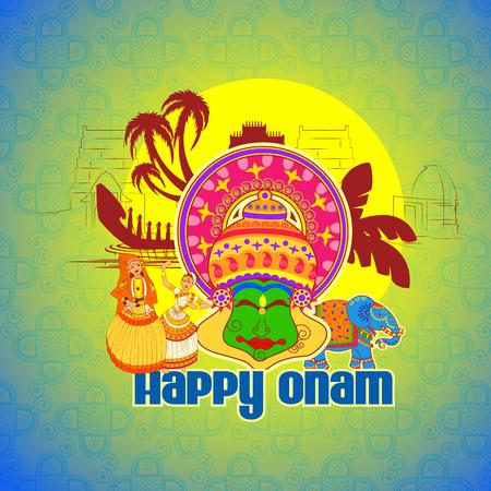 onam: Vector design of Happy Onam background with Kathakali dancer in Indian art style