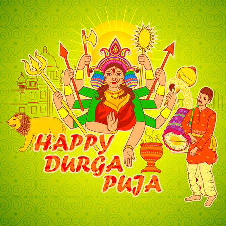 bengal: Vector design of Man playing Dhak Dhol of Bengal for Durga Puja in Indian art style