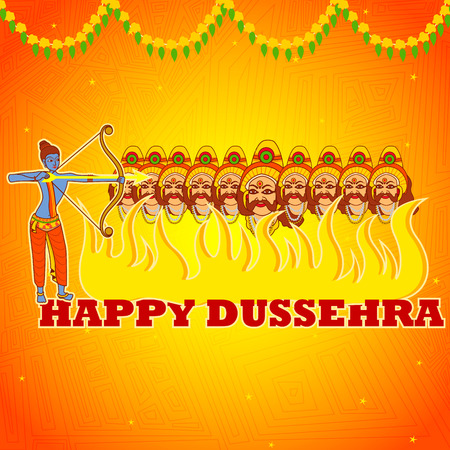 occassion: Vector design of Rama killing Ravana in Happy Dussehra