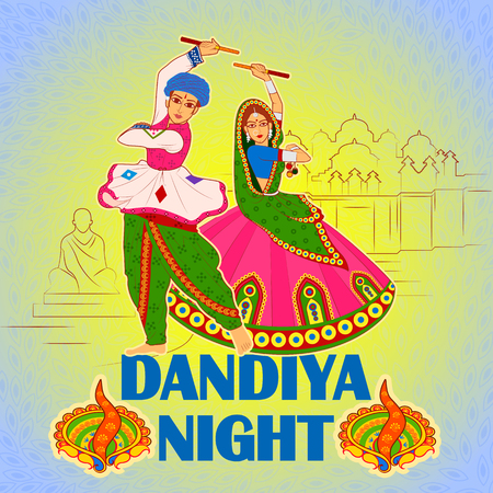 Vector design of couple playing Garba in Dandiya Night Navratri Dussehra festival Ilustração