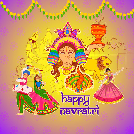 Vector design of People performing Dhunuchi dance and Garba for Happy Navratri in Indian art style