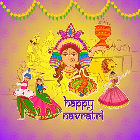 Vector ontwerp van mensen die het uitvoeren Dhunuchi dans en Garba voor Happy Navratri in Indian kunststijl