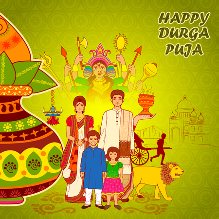 bengal: Vector design of People of Bengal wishing Happy Durga Puja in Indian art style
