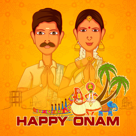 malayalam: Vector design of South Indian couple wishing Happy Onam in Indian art style