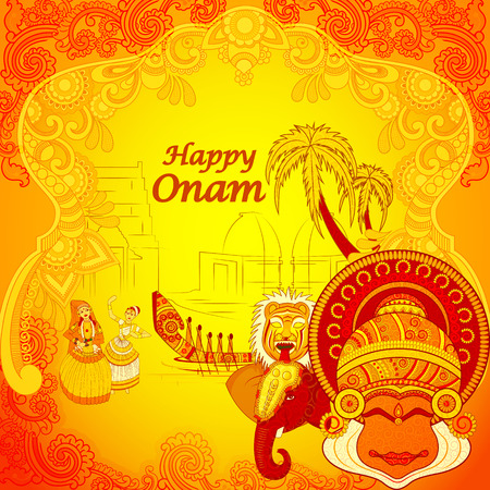 disegno vettoriale di felice Onam sfondo in stile arte indiana