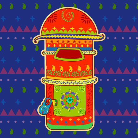 pillar box: Vector design of post box in Indian art style Illustration