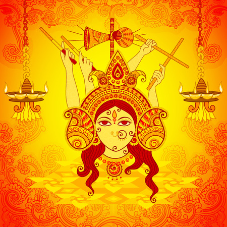 Vector design of Goddess Durga for Dussehra in Indian art style