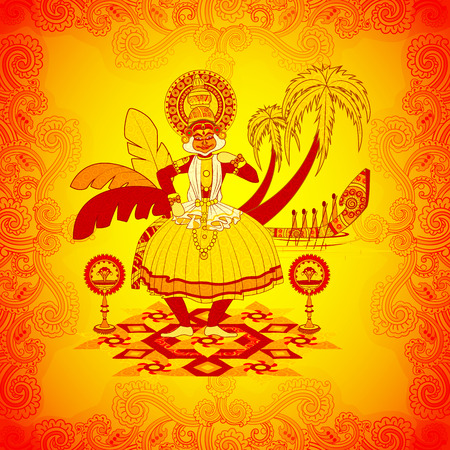 auspicious occasions: Vector design of Happy Onam background in Indian art style Illustration