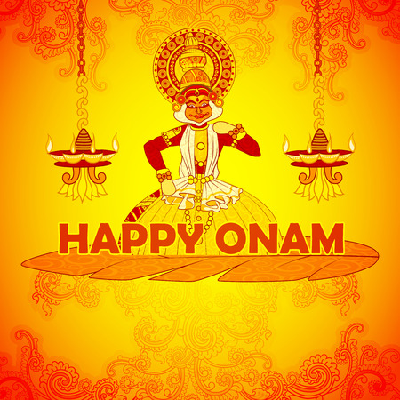 sravanmahotsav: Vector design of Happy Onam background in Indian art style Illustration