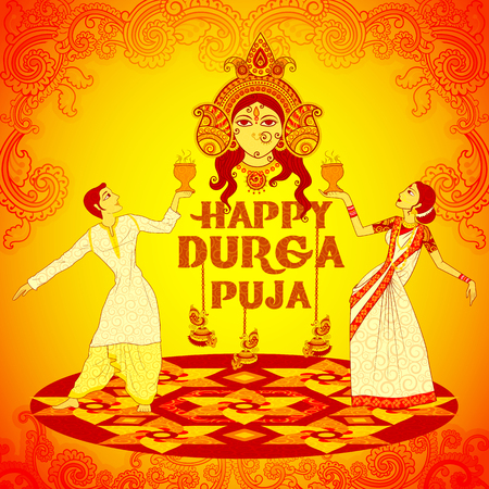 bengal: Vector design of Couple performing Dhunuchi dance of Bengal for Durga Puja in Indian art style