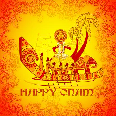 malayalam: Vector design of Happy Onam background in Indian art style Illustration