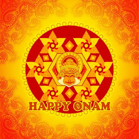 Diseño del vector del fondo feliz Onam en el estilo de arte indio