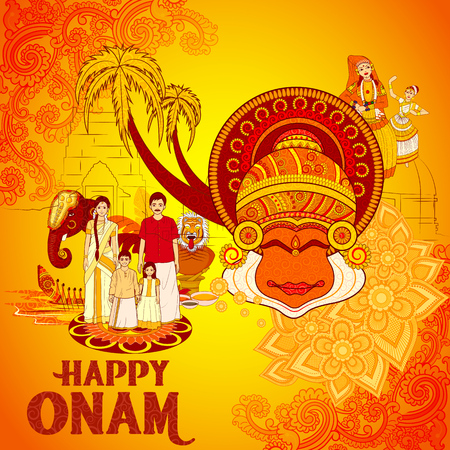 Vector design of Happy Onam background in Indian art style Ilustração