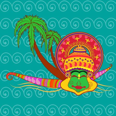 pookolam: Vector design of Happy Onam background in Indian art style Illustration