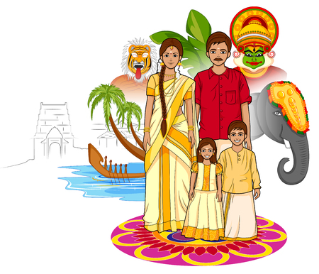 Vector design of Happy Onam background in Indian art style Illusztráció