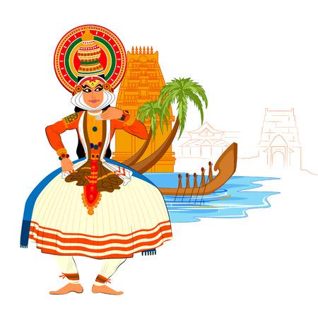 Vector ontwerp van Happy Onam achtergrond in Indian art stijl Stock Illustratie