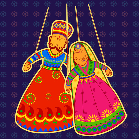 woman hanging toy: Vector design of colorful Rajasthani Puppet in Indian art style