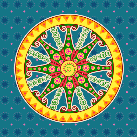 Vector design of chariot wheel, Sun temple Konark in Indian art style