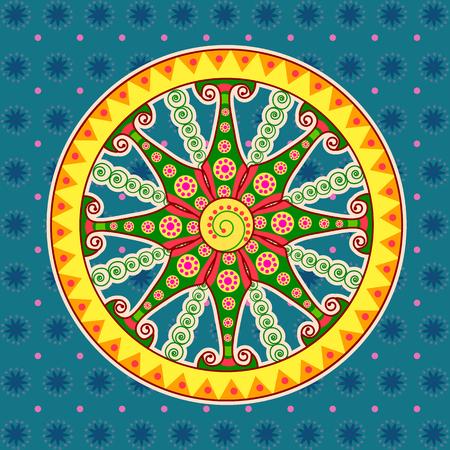Vector ontwerp van wagenrad, zon tempel Konark in Indian kunststijl Stock Illustratie