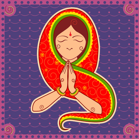 welcoming: Vector design of woman of India welcoming gesture in Indian art style