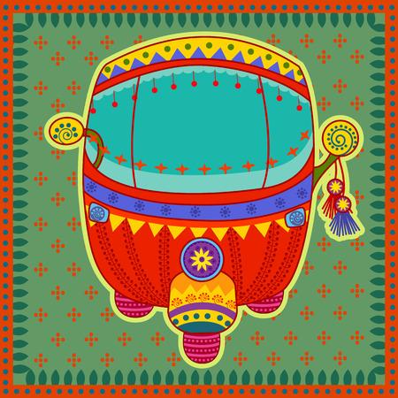 Vector ontwerp van auto-riksja in de Indiase kunststijl Stock Illustratie