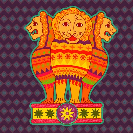 Vector design of Pillars of Ashoka in Indian art style Illustration