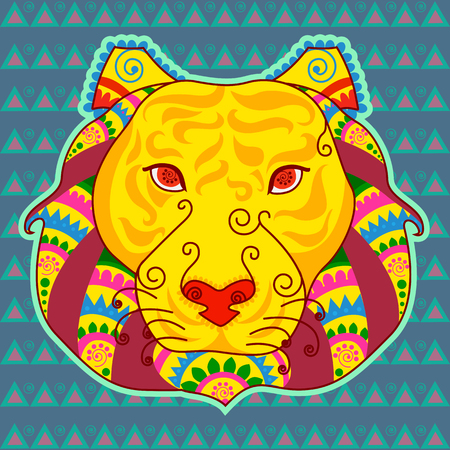 Vector design of face of tiger in Indian art style Illustration