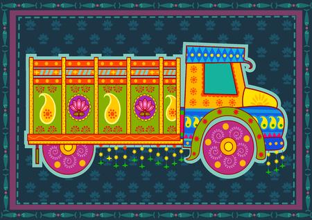 Diseño del vector del camión de la India en estilo del arte indio
