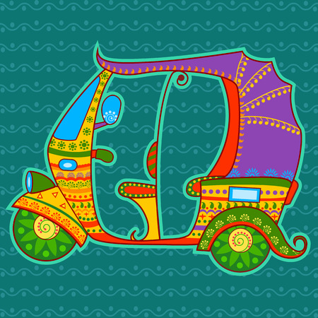 rural india: Vector design of auto rickshaw in Indian art style