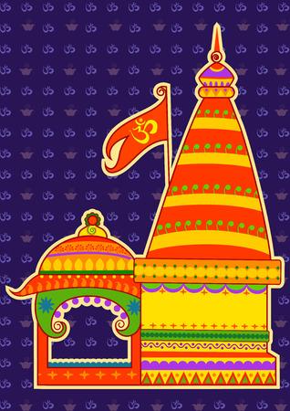 hindu temple: Vector design of hindu temple in Indian art style