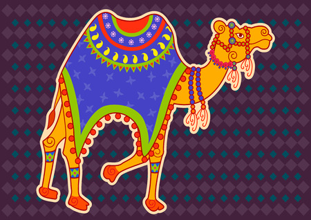 sand asia: Vector design of decorated Camel in Indian art style