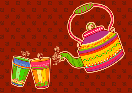 Vector design of tea kettle and glass in Indian art style Illustration