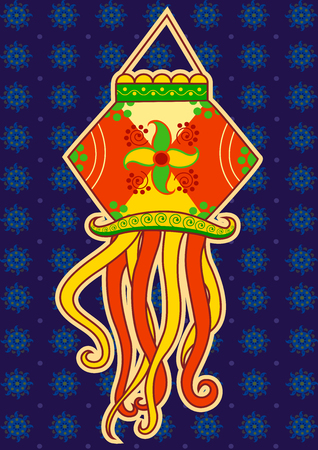 hanging lamp: Vector design of Diwali hanging Lamp in Indian art style