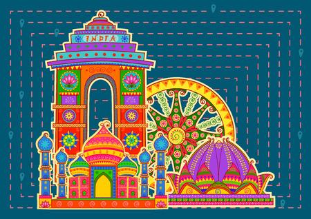 Vector ontwerp van de beroemde monument en landmarkof India in Indiase kunst stijl