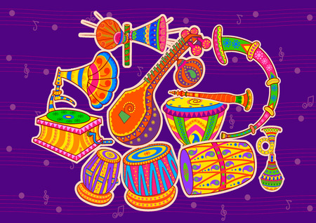 Vector design of art and music of India in Indian art style Ilustração