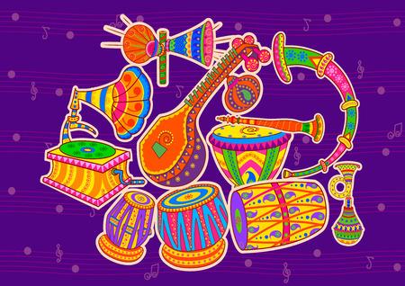 Vector ontwerp van kunst en muziek van India in de Indische kunststijl Stock Illustratie