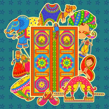 diseño del vector de la cultura de Rajasthan en el estilo de arte indio Vectores