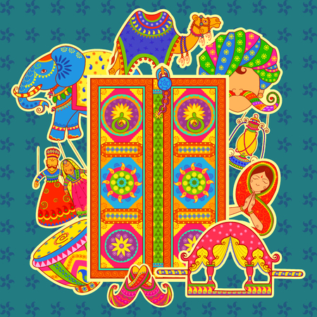 villager: Vector design of culture of Rajasthan in Indian art style