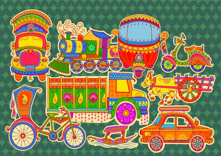 taxi: diseño del vector de transporte de la India en estilo del arte indio
