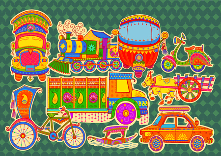 Vector design of transportation of India in Indian art style
