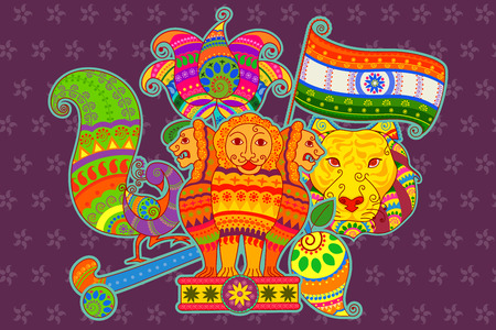 bharat: Vector design of National symbols of India in Indian art style