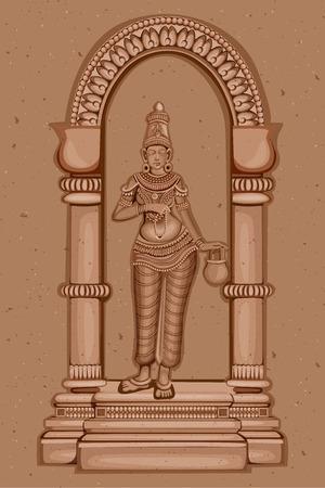Vector design of Vintage statue of Indian Goddess Brahmacharini sculpture one of avatar from Navadurga engraved on stone