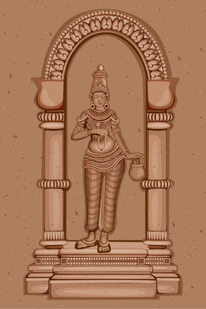 ruins: Vector design of Vintage statue of Indian Goddess Brahmacharini sculpture one of avatar from Navadurga engraved on stone