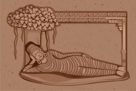 diseño del vector de la estatua de la vendimia de la escultura india Buda uno de avatar del Dashavatara de Vishnu grabado en piedra